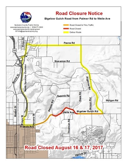 Bigelow Gulch paving project detour.