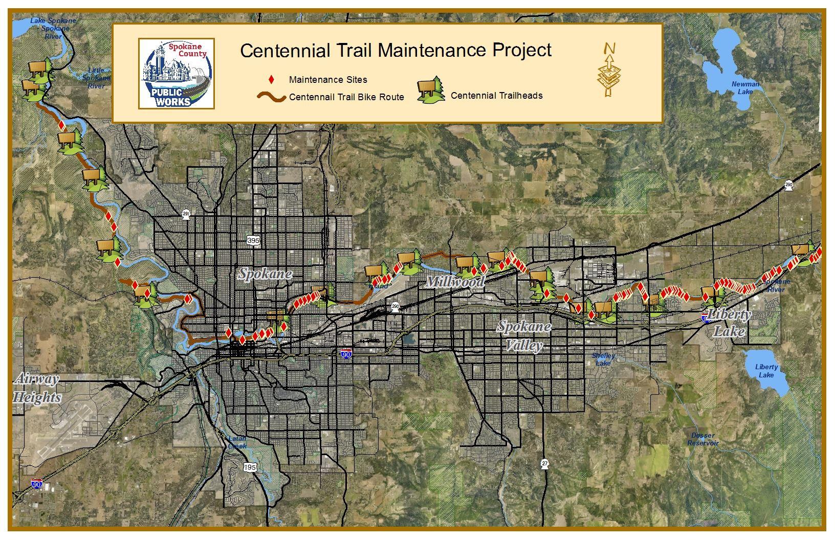 Centennial Trail Maintenance Spokane County Wa