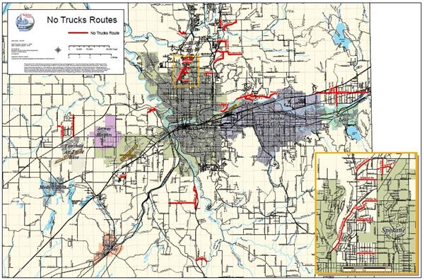 Map Of Spokane No Truck Routes Map | Spokane County, WA