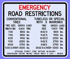 Emergency Road Restrictions
