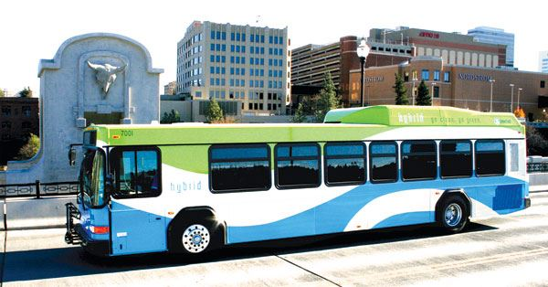 STA Hybrid Bus on the Monroe Street Bridge in Downtown Spokane