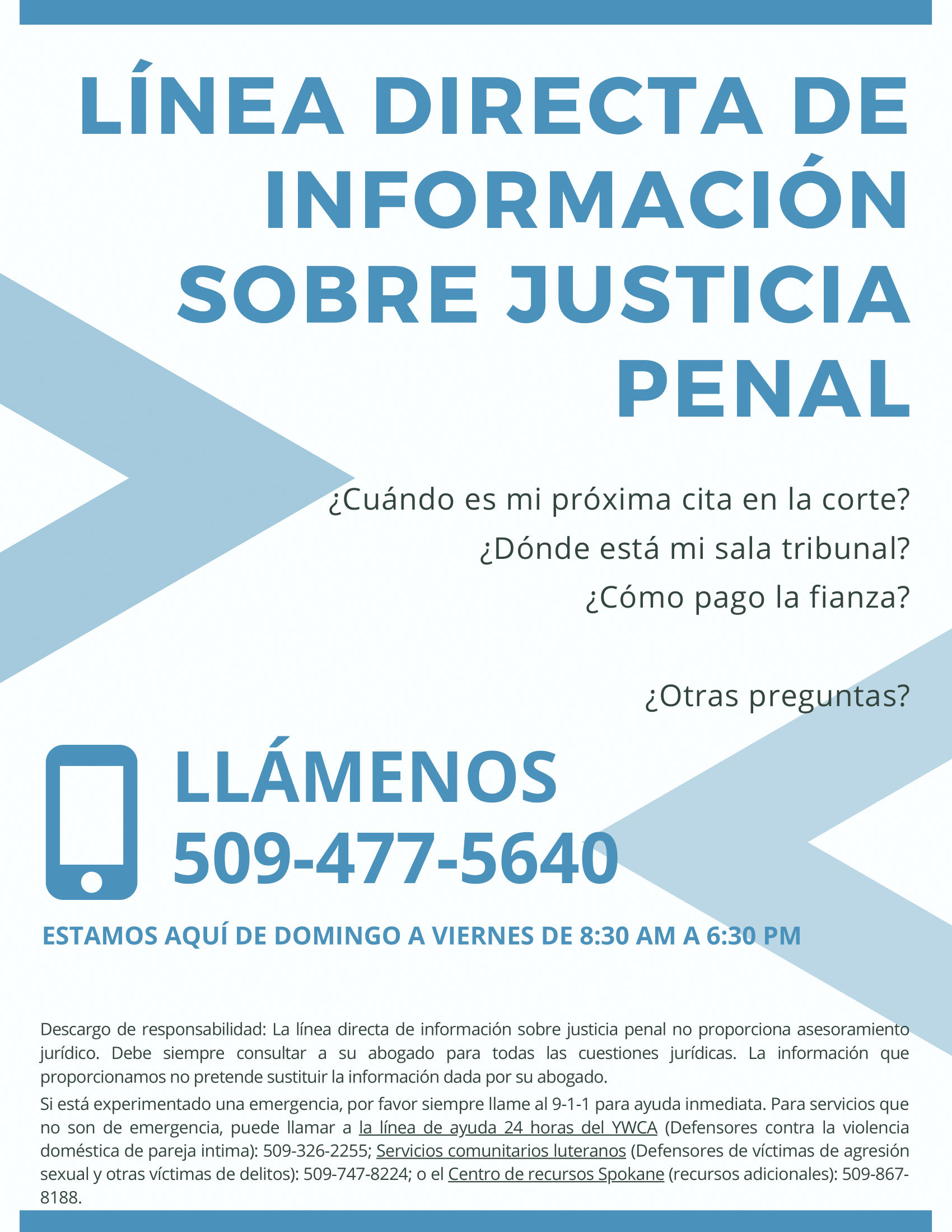Criminal Justice Information Hotline Poster in Spanish