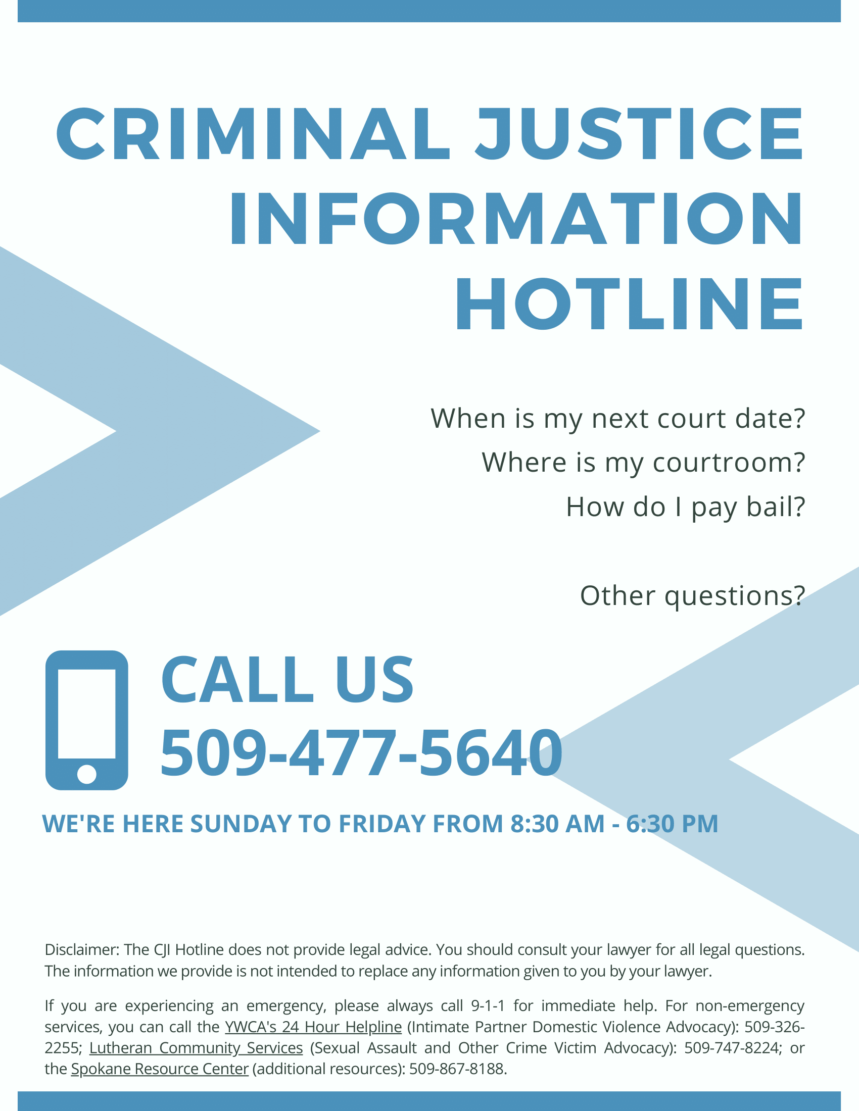 Criminal Justice Information Hotline Poster in English