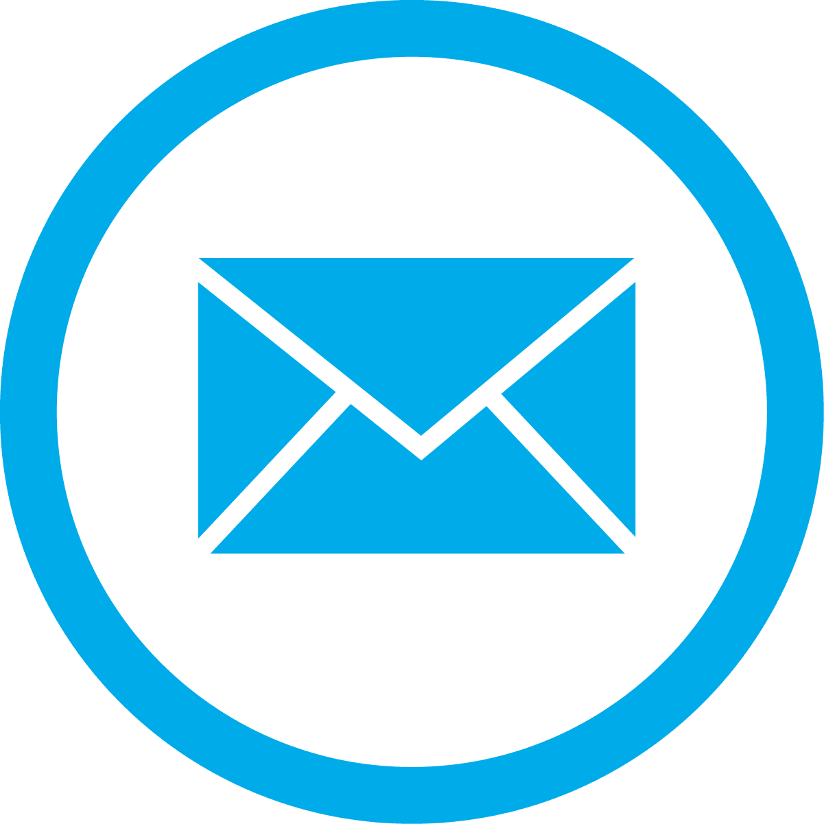 blue email box circle
