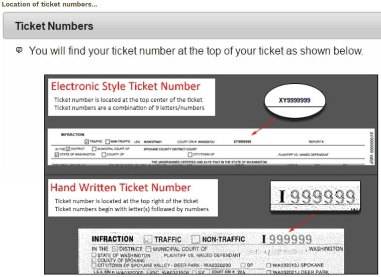 Ticket number locations